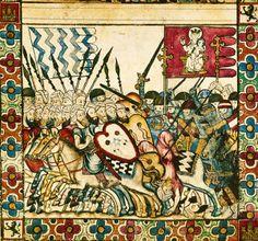Tropas cristianas y musulmanas en una batalla de la Reconquista. Miniatura de las Cantigas de Santa María. Siglo XIII.
