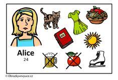 Obrazový materiál pro výuku jazyků - Co má ráda Alice? / A visual material for language teaching - What does Alice like? Alice, Origami, Comics, Art, Art Background, Kunst, Origami Paper, Cartoons, Performing Arts
