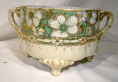 Royal Nippon Hand Painted White Green & Gold Floral Jardiniere Painted Vases, Hand Painted, Orange Blush, Green Ground, Japanese Words, Potted Plants, Green And Gold, White Flowers, Antiques