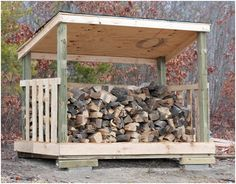 Cheap: Build a firewood shed for under $80.  Wooden pallets are an excellent resource for low-cost/no-cost wood. About fifty percent of the shelter pictured above is comprised of free wood. It is about 25 square feet with a maximum height of 6 feet. The available storage space of the shed is about 135 cubic feet… slightly more than enough for a cord of wood.