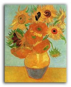 Still LIfe: Vase with Twelve Sunflowers Oil Painting Reproduction on Canvas By Vincent van Gogh Vase With Twelve Sunflowers, Van Gogh Sunflowers, Vincent Van Gogh, Flores Van Gogh, Canvas Art Prints, Framed Art Prints, Van Gogh Still Life, Sunflower Canvas, Sunflower Painting Van Gogh
