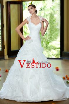 2014 Ruffled Bodice A Line Wedding Dress With Layered Organza Skirt Beaded Court Train USD 299.99 VEP1S2LEFG - Vestido2015.com for mobile