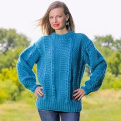 BLUE Hand Knitted Mohair Wool Sweater Crewneck Boutique Pullover by SUPERTANYA #SuperTanya #Crewneck