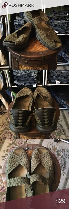Bernie Mev Mary Janes The most comfortable shoes, Bernie Mev. Peep toe Mary Jane style. Well loved but no damage. Olive green color. bernie mev. Shoes Flats & Loafers