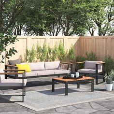 Garden Sofa Sets You'll Love | Wayfair.co.uk Outdoor Sofa Sets, Outdoor Furniture Sets, Outdoor Decor, Luther, Rattan Corner Sofa Set, Metal Garden Furniture, Garden Sofa Set, 5 Seater Sofa, Decoration Inspiration