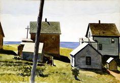 Edward Hopper, Two Lights Village, 1927, watercolor on paper, Fitchburg Art Museum, Massachusetts