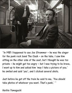 Joe Strummer of the Clash on the Tube in London. #publictransit #punk via Taras Grescoe