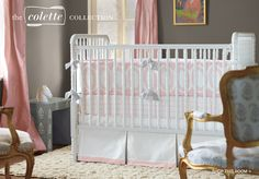 Designer Bedding for Baby Girl Nursery | Serena & Lily - really liking the color combination of peach and grey, this room has a very sophisticated palette.