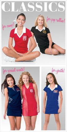 Get a custom and classic team polo or dress for pep rallies, games, community events, and summer camp! This campwear and practicewear is a must-have for your team wardrobe.