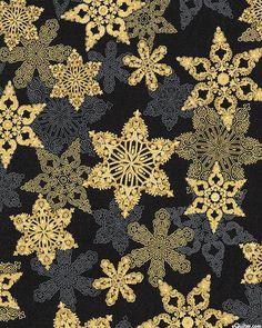 Holiday Flourish - Ornamental Snowflakes - Black/Gold