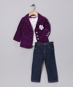 Take a look at this Dark Purple Jacket Set - Infant by Play Away: Infant & Kids' Sets on #zulily today!