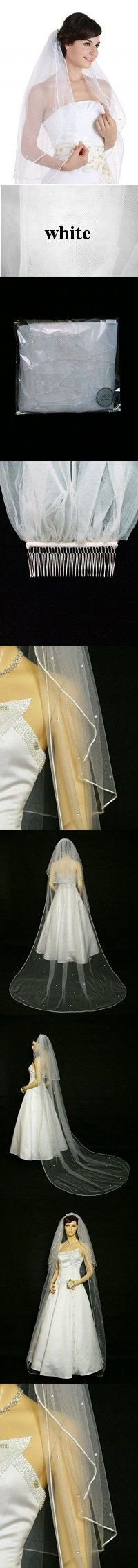 "2T 2 Tier Rhinestones Crystal Sattin Rattail Edge Bridal Wedding Veil - White Cathedral Length 108"" V229"