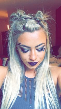 Music festival hair style makeup future space fashion alien grunge style buns (too knot bun with bang)