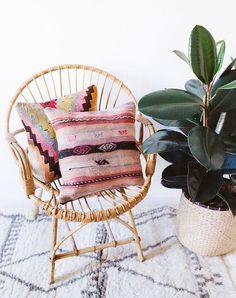 "Vintage Turkish Kilim Pillow Cover, 16""x16"", Bohemian Decorative Pillow, Pink…"