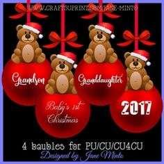 RED BAUBLES WITH SENTIMENTS SET 1