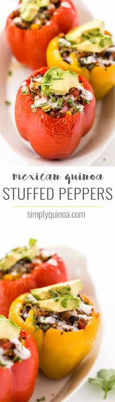 These delectable MEXICAN QUINOA STUFFED PEPPERS are a hearty, plant-based entree that is easy to make, packed with flavor and doubles as a great meal-prep option as well! Simply Quinoa Source by TriedandTasty plant based Mexican Food Recipes, Whole Food Recipes, Diet Recipes, Vegetarian Recipes, Cooking Recipes, Healthy Recipes, Venison Recipes, Delicious Recipes, Chicken Recipes
