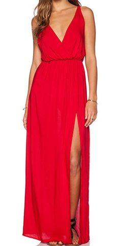 2015 Newest Sexy Spaghetti Strap Tunic Dresses Summer Elegant Women Solid Red Deep V Neck Backless Split Maxi Dress