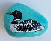 Loon painted rock paperweight