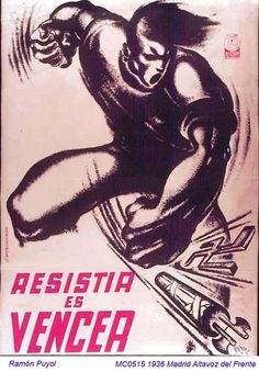 Spain - 1936. - GC - poster - autor: Ramon Puyol Ww2 Propaganda, Power Pop, Power To The People, Graphic Design Posters, Illustrations And Posters, Spanish, 1930s, Madrid, Europe