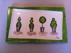 Topiaires Drawings, Frame, Modern, Painting, Decor, Trees And Shrubs, Dish Sets, Porcelain Ceramics, Green Leaves