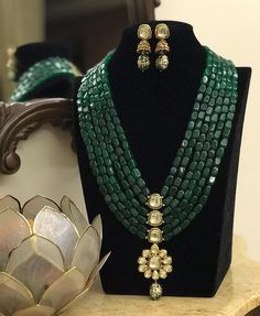 Green Mala Necklace/ Long Indian Necklace/ Indian Jewelry/ Green beads Necklace/ Heavy beads heavy Necklace/ Pakistani Jewelry/ Indian Green Mala Necklace/ Long Indian Necklace/ Indian Jewelry/ Green beads Necklace/ Heavy beads heavy N Gold Jewellery Design, Bead Jewellery, Jewelery, Fine Jewelry, Jewellery Shops, Silver Jewellery, Pakistani Jewelry, Indian Wedding Jewelry, Bridal Jewelry