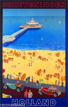 Scheveningen-Holland-Europe-European-Vintage-Travel-Advertisement-Art-Poster