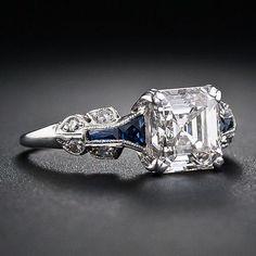 1.75 Carat Asscher-Cut Diamond Art Deco Ring - 10-1-5326 - Lang Antiques