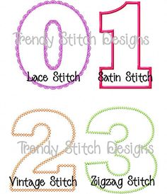 Birthday Numbers Applique Design Machine by trendystitchdesigns