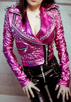 Metallic pink toxic vision studded leather