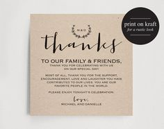 Wedding Thank You Card With Pre Printed Thank You Message On Back