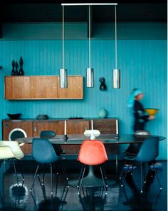 turquoise, glossy black and wood