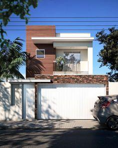 100 fachadas de casas modernas e incríveis para inspirar seu projeto Bungalow Haus Design, Duplex Design, House Outer Design, House Front Design, Narrow House Designs, Small Modern Home, House Paint Exterior, Facade Design, Facade House