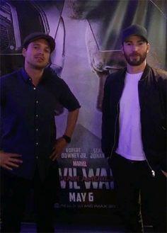 Sebastian Stan (Bucky Barnes) and Chris Evans (Captain America a.k.a. Steve Rogers)(I'm laughing so hard,hahaha! #TeamCap)