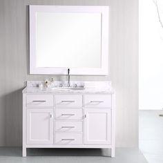 "Design Element London 48"" Single Bathroom Vanity Set with Mirror & Reviews | Wayfair"