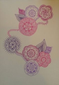 Zentangle inspired mandala's 'Connection' in purples and pink by Marieke Raterman. To purchase a print or a smartphone case with this print, visit Monnicken Werken at Facebook : https://m.facebook.com/profile.php?id=878872252171950