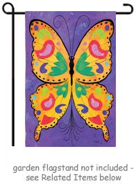 """Bright Butterfly Garden Flag by artist David T. Sands from Evergreen's """"Silk Reflections"""" collection. This colorful design appears on both sides of the flag  @justforfunflags"""