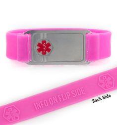 ActiveWear Pink Silicone Medical Alert Bracelet