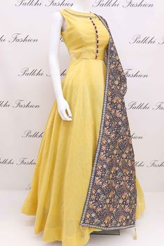 Elegant Light Yellow Soft Silk Outfit With Attractive Dupatta Indian Gowns, Indian Attire, Indian Outfits, Ethnic Outfits, Indian Wear, Indian Designer Outfits, Designer Dresses, Anarkali Dress, Anarkali Suits