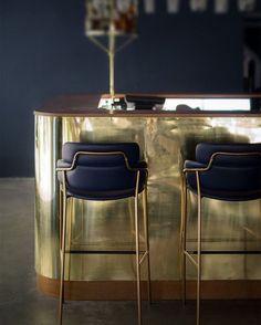 Kitchen I brass kitchen island I elegant bar stools
