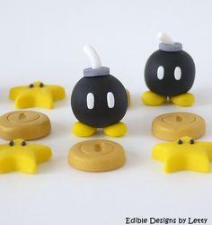 12 Edible Fondant Cupcake Toppers - 3D Super Mario Bomb, Star & Gold Coin