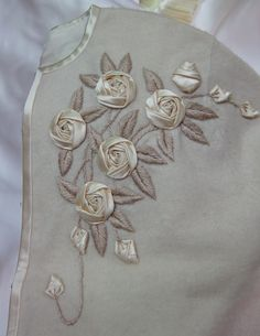 10 Things I've Learned From Hanging Out With Candace Kling, Ribbon Worker Extraordinaire – See How We Sew Ribbon Flower Tutorial, Ribbon Embroidery Tutorial, Fabric Embellishment, Silk Ribbon Embroidery, Embroidery Stitches, Embroidery Patterns, Hand Embroidery, Bow Tutorial, Ribbon Art