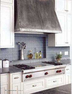 My favorite hood -- Metal Range Hood - Contemporary - Kitchen Hoods And Vents - Other Metro - The Metal Peddler Cuisine Tudor, Kitchen Hoods, Kitchen Tiles, New Kitchen, Kitchen Cabinets, White Cabinets, Kitchen Exhaust, Kitchen Yellow, Kitchens