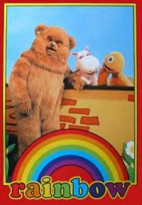TV posters - Rainbow posters: Rainbow poster featuring the characters from the cult childrens TV show Rainbow. Well, Bungle, George and Zippy. This Rainbow poster has been out of print for some time now. 1980s Childhood, My Childhood Memories, Retro Kids, 80s Kids, Kids Tv Shows, My Memory, The Good Old Days, Happy Friday, The Past