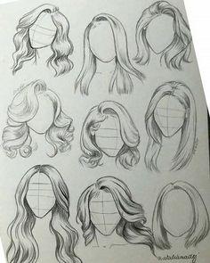 Girl Hair Drawing, Art Drawings Sketches Simple, Pencil Art Drawings, Realistic Drawings, Easy Drawings, Girl Drawings, Drawing With Pencil, Hair Styles Drawing, Drawings Of People