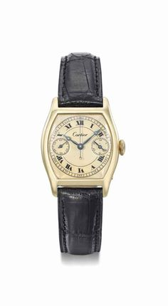 Cartier. A fine and extremely rare 18K gold tonneau-shaped single-button chronograph wristwatch with Cartier certificate of authenticity, manufactured in 1929 #ChristiesWatches