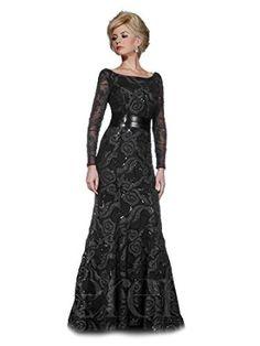 Serena London 20145 Sheer Long Sleeved Unique Patterned Mermaid Formal Dress - Black size 10 #longsleeves