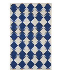 Blue Geometric Argyle Wool Rug