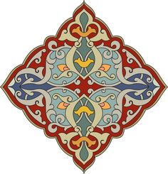 Red, green, blue and orange diamond shaped Arabesque Design View Large Clip Art Graphic Islamic Motifs, Islamic Art Pattern, Pattern Art, Arabesque Design, Persian Pattern, Iranian Art, Turkish Art, Arabic Art, Calligraphy Art