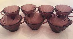 VTG Moroccan Amethyst Hazel-Atlas Sweet Swirl Purple Punch Bowl Cups Handles  7
