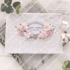 White Pink Silver Wedding Guestbook And Pen